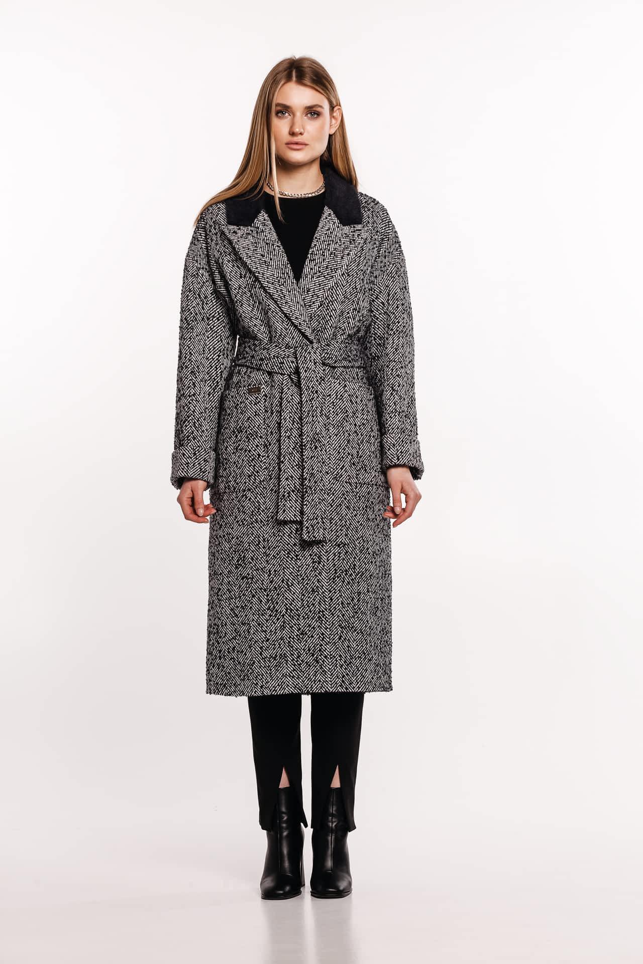 Пальто з воротником зі штучного хутра