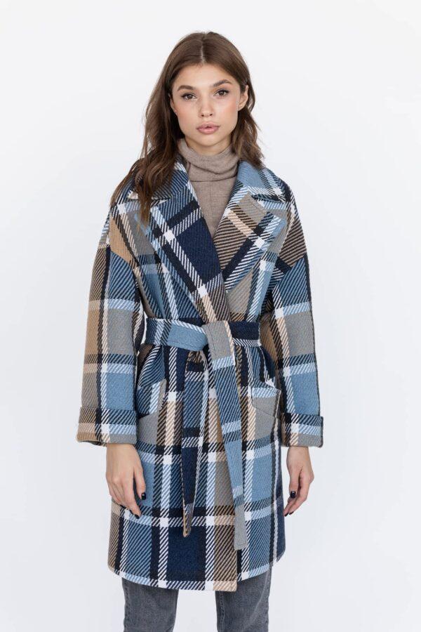 Вкорочене пальто у велику клітку