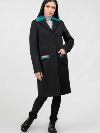 Черное пальто с цветным натуральным мехом 1