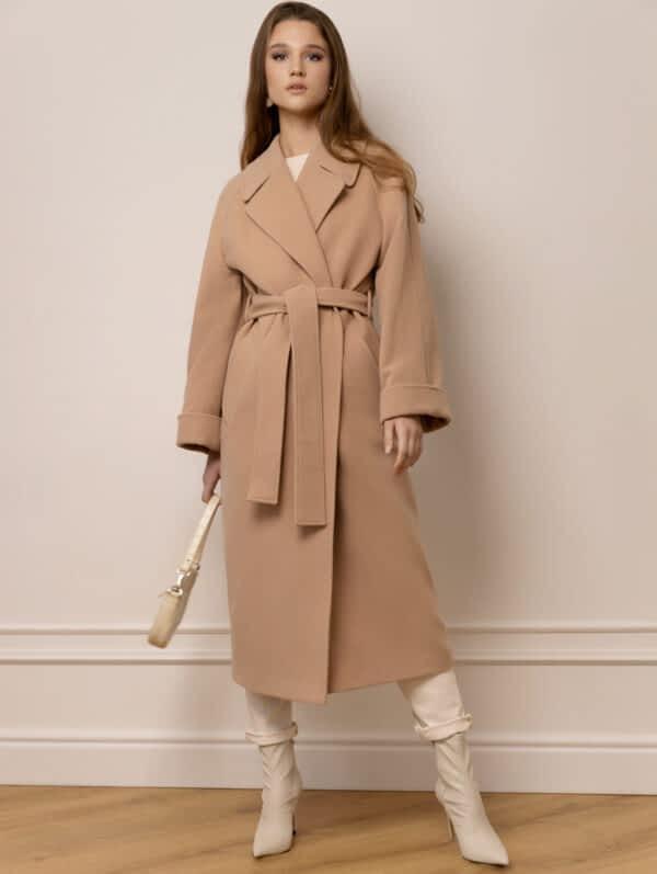 Однотонне пальто халат