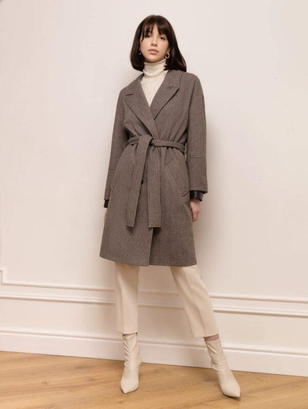 Вкорочене пальто з шкіряними манжетами