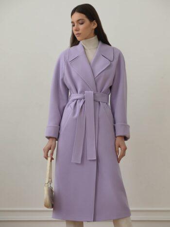 Однотонное пальто халат