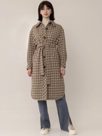 Длинное пальто-рубашка в клетку