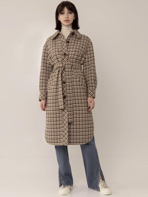 Довге пальто-сорочка в клітку