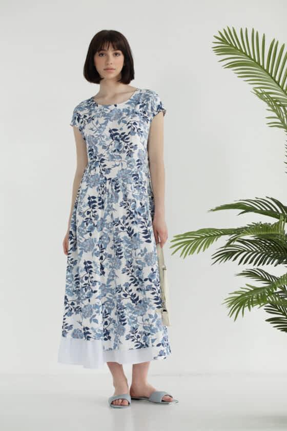 Платье свободного кроя с цветочным принтом