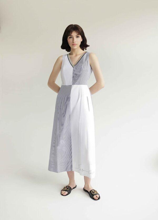 Двокольорова сукня довжини максі