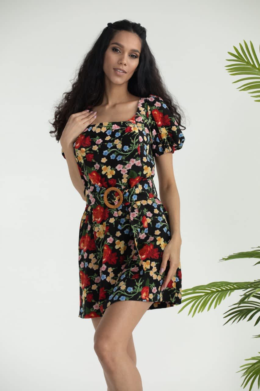 Платье в цветочный принт длины мини