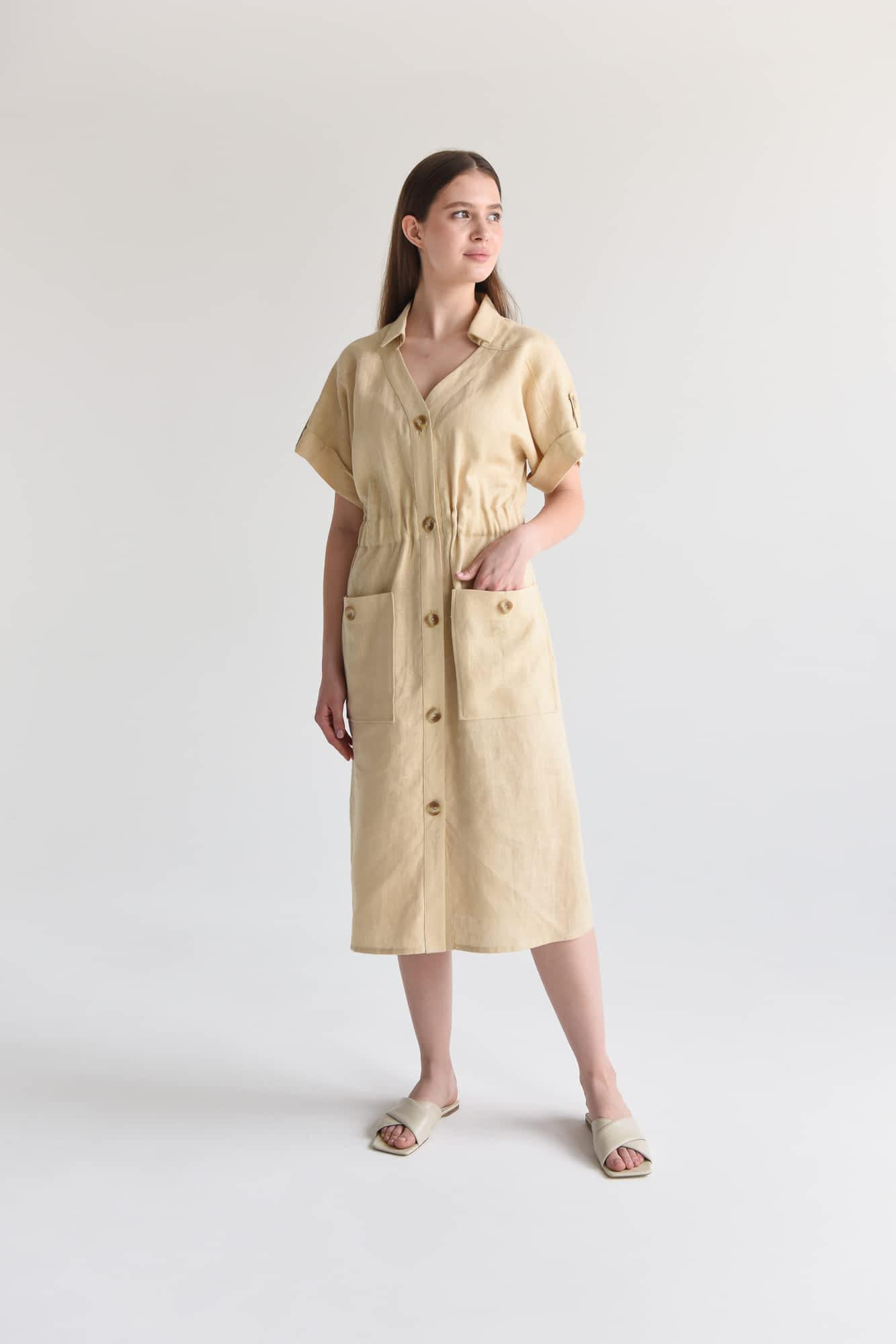 Сукня міді з гудзиками