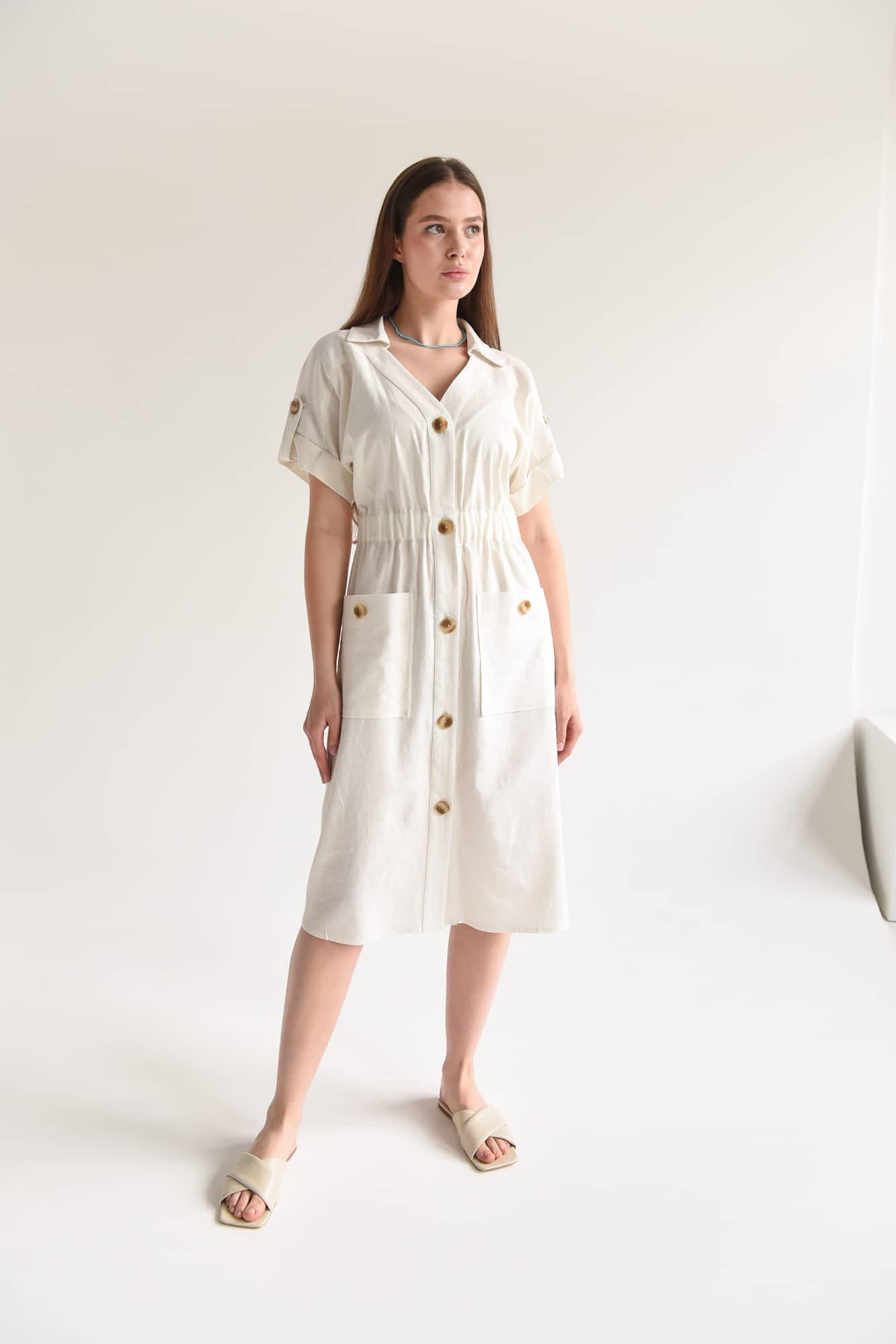 Платье миди с пуговицами