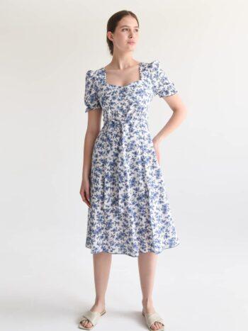 Льняное платье в мелкий цветок