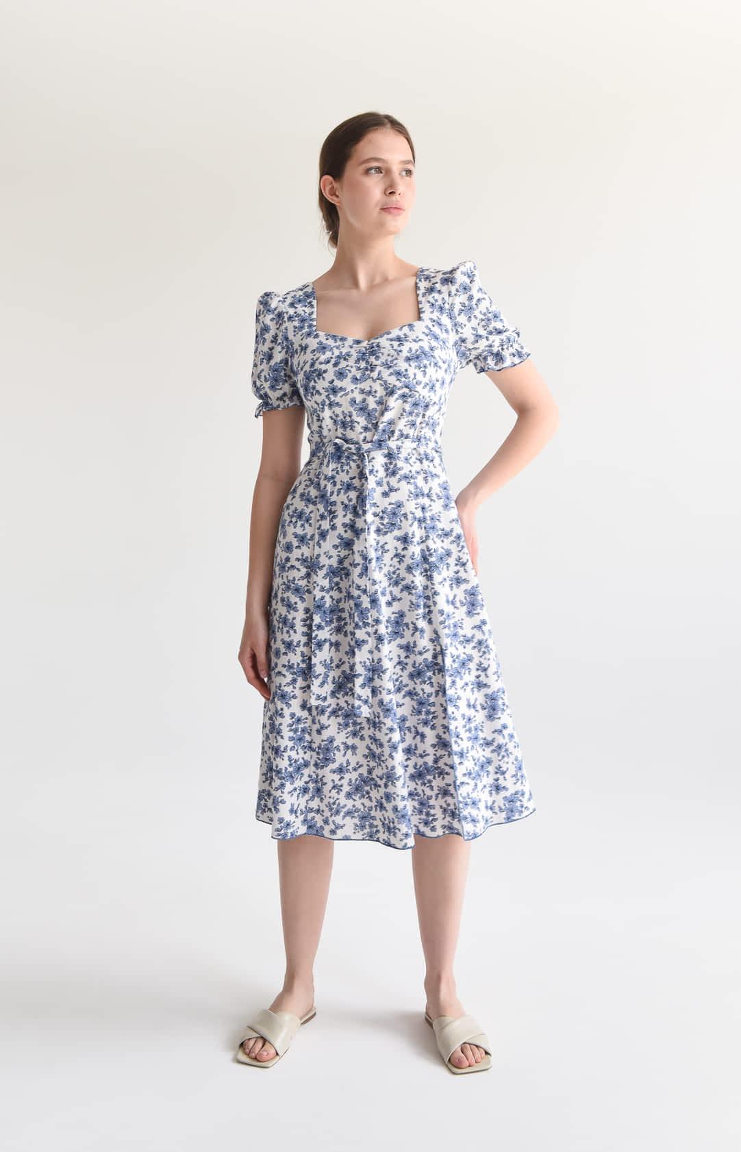 Лляна сукня в дрібну квітку