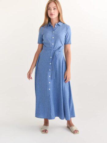 Платье с пуговицами в мелкий горох