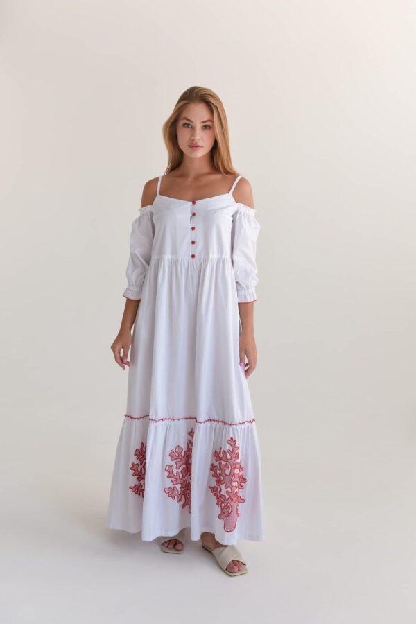 Бавовняна сукня максі з відкритими плечима