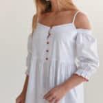 Хлопковое платье макси с открытыми плечами