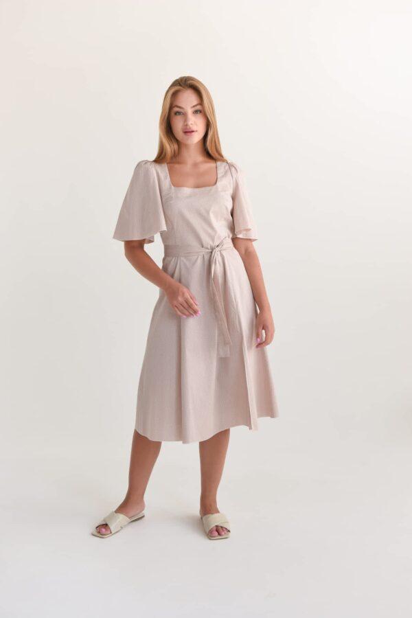 Бавовняна сукня в дрібний горох